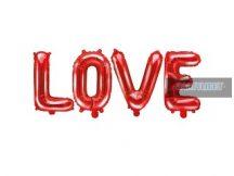 LOVE piros fólia lufi (140 cm)