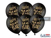 Fekete 30 cm-es lufi Happy New Year