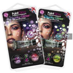 UV hologramos Chunky kozmetikai glitter és fixáló szett